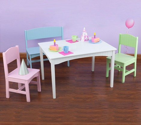 Nantucket Table w/ Bench and 2 Chairs - Pastel