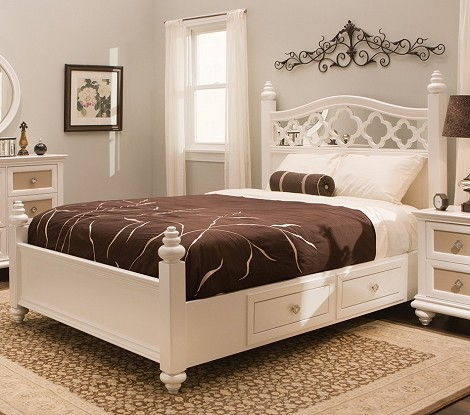 Paris Youth Panel Bed Pearl
