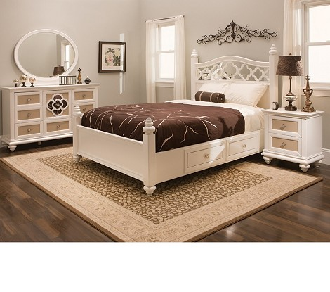 Paris Youth Panel Bedroom Set Pearl