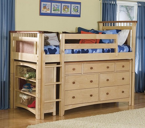 Bennington Low Loft Bed w/ Essex Dresser & Bookcases in Natural