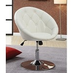 Coaster 102580 Round-Back Swivel Chair, White