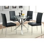 120760 5 Piece Round Glass Top Dining Set Black