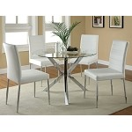 120760 5 Piece Round Glass Top Dining Set White