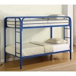 Fordham Twin Over Twin Bunk Bed with Built-In Ladders Blue
