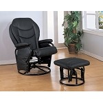 2946 Glider Rocker with Round Base Ottoman Black