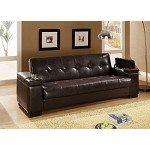 300143 Faux Leather Convertible Sofa Sleeper with Storage