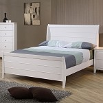 Sandy Beach Youth Sleigh Bed In White Finish