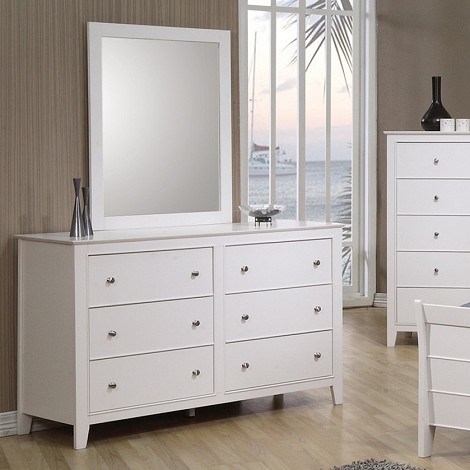 Sandy Beach Youth Dresser & Mirror  In White Finish