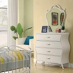 Bella Youth Dresser & Mirror In White Metal