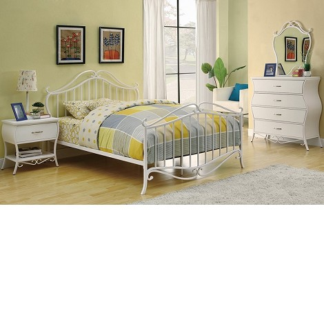 Bella Youth Bedroom Set In White Metal