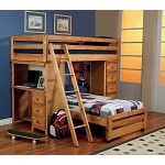 Transitional Amber Wash Loft Twin/Twin Bunk Bed