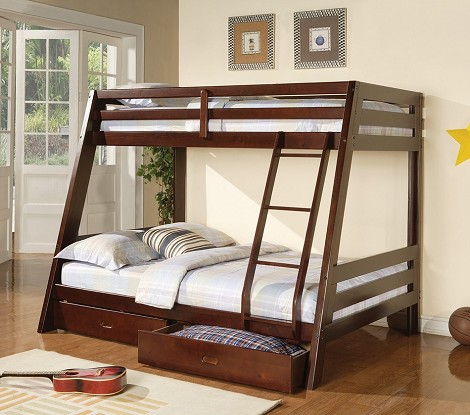 460228 Twin/Full Bunk Bed in Cappuccino Finish