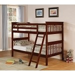 Pedro Twin over Twin Lattice Design Bunk Bed in Rich Cappuccino Finish
