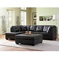 500606 Darie Leather Sectional Sofa with Left-Side Chaise