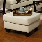 501694 Samuel Contemporary Leather Ottoman Cream