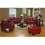 501831 Samuel Contemporary Leather Sofa Set Red
