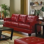 501831 Samuel Contemporary Leather Sofa Red