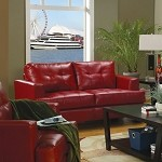 501832 Samuel Contemporary Leather Loveseat Red