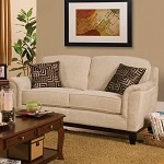 502472 Carver Loveseat with Exposed Wood Base