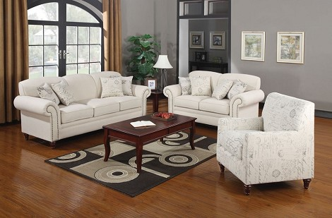 502511 Norah Antique Inspired Sofa Set with Nail Head Trim