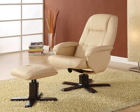 600141 Contemporary Recliner with Matching Ottoman Ivory