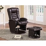 600165 Casual Leather Like Glider with Matching Ottoman Brown