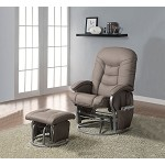 c600228 Casual Leatherette Glider Recliner with Matching Ottoman Beige