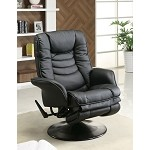 c600229  Recliners Casual Leatherette Swivel Recliner Black