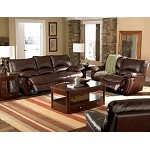 600281 Clifford Brown Leather Double Reclining Sofa set