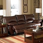 600281 Clifford Brown Leather Double Reclining Sofa