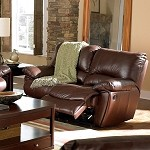 600282 Clifford Brown Leather Double Reclining Loveseat