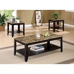 700155 - 3 Piece Occasional Table Set with Shelf and Faux Marble Top