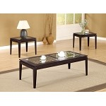 700205 Contemporary 3 Piece Table Set with Glass Insets