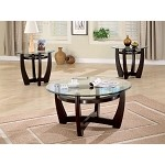 700295 Contemporary 3 Piece Occasional Table Set with Glass Tops