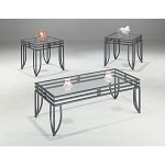 7140 Contemporary 3 Piece Occasional Table Set with Glass Tops