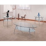 7635 3 Piece Chrome and Glass Occasional Table Set