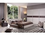 Denmark - Contemporary Leatherette Bed w iPhone Music Dock & Speakers