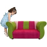 Fantasy Furniture Fancy Sofa Pink / Green Microsuede
