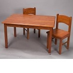 1406H  Natural Hardwood Rectangle Table and 2 Chair Set  -  Honey Finish