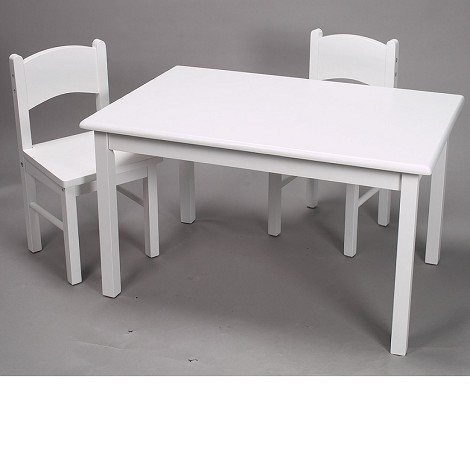 1406W  Natural Hardwood Rectangle Table and 2 Chair Set  - White Finish