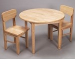 1407N  Natural Hardwood Round Table and 2 Chair Set  - Natural Finish