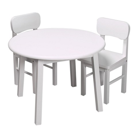 1407W  Round White Table and 2 Chair Set
