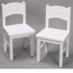 1408W  A Pair of Rectangle Chairs White