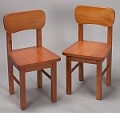 1409H  A Pair of Round Chairs Honey