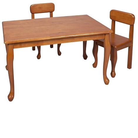 30001H  Natural Hardwood Queen Anne Rectangle Table and 2 Chair Set Honey