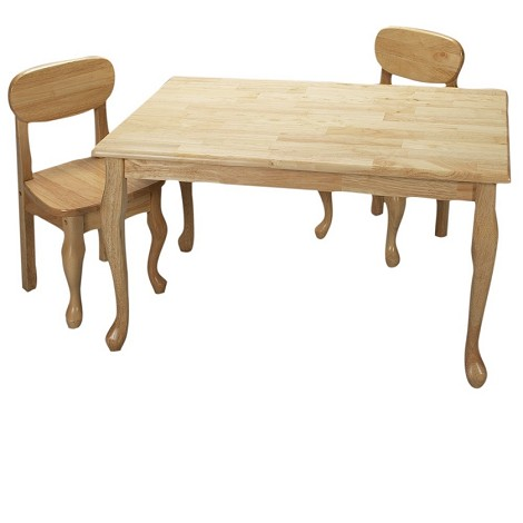 3001N  Natural Hardwood Queen Anne Rectangle Table and 2 Chair Set Natural
