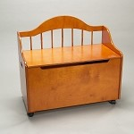 4025H  Deacon Bench Styled Toy Chest on Casters  - Honey