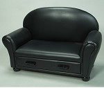 6700BK  Child's Upholstered Chaise Lounge w/Drawer  - Black