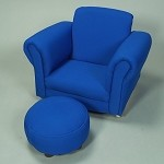 6715B  Child's Upholstered Rocker w/Ottoman  - Blue