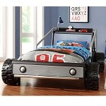 Track Silver Twin Race Car Bed - Silver